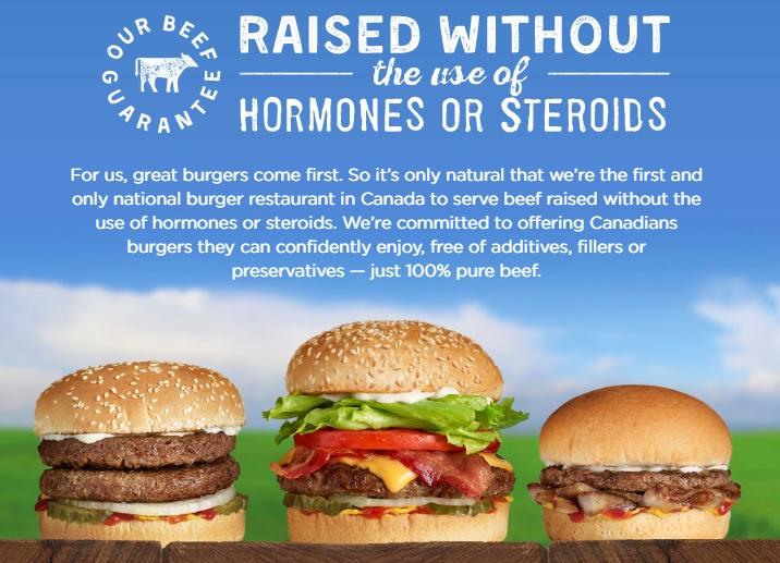 ビーフはホルモンやステロイドを使っていない牛肉。パテは添加物やツナギを使わない100%ビーフ。